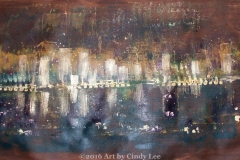 CityLights, 2012, Mixed on Canvas, 36 x 18