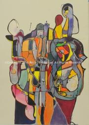 Jazzin Trio Fusion 2007, Mixed Media on Watercolor, 22 x 30