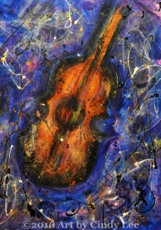 Bass Solo 2005, MIxed on Watercolor, 24x36