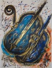 BassDuet 2003, Mixed on Watercolor, 36x24