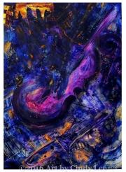 BassPlayin 2009, Acrylic on Watercolor, 36x24