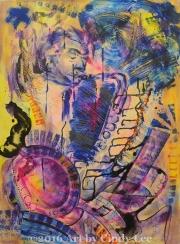 Jazzin Sax 2002 Acrylic on Watercolor 36x24_1200(C)