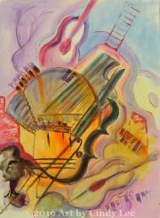 Smooth Jazz 2002 Acrylic on Watercolor 36x24_1200(C)