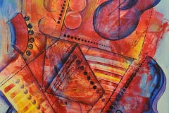 Jazz Strings 2002 Acrylic on Watercolor 36x24_1200(C)