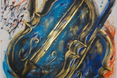BassDuet 2003, Mixed on Watercolor, 36x24